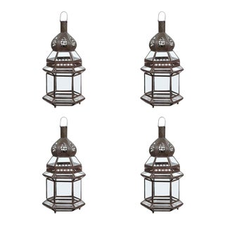 Moroccan Metal and Clear Glass Sevilla Lanterns - Set of 4