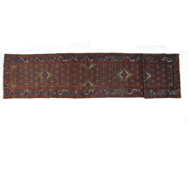 Wool pile hand made antique Persian Malayer runner.