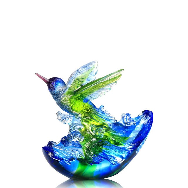 """Blue Liuli Crystal Art Crystal Hummingbird, """"Victory by Daybreak"""" Sculpture (Limited Edition) For Sale - Image 8 of 8"""