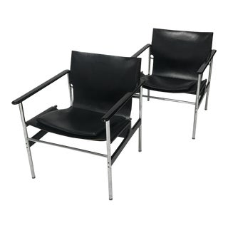 Charles Pollock for Knoll Black Leather Sling Chairs - a Pair