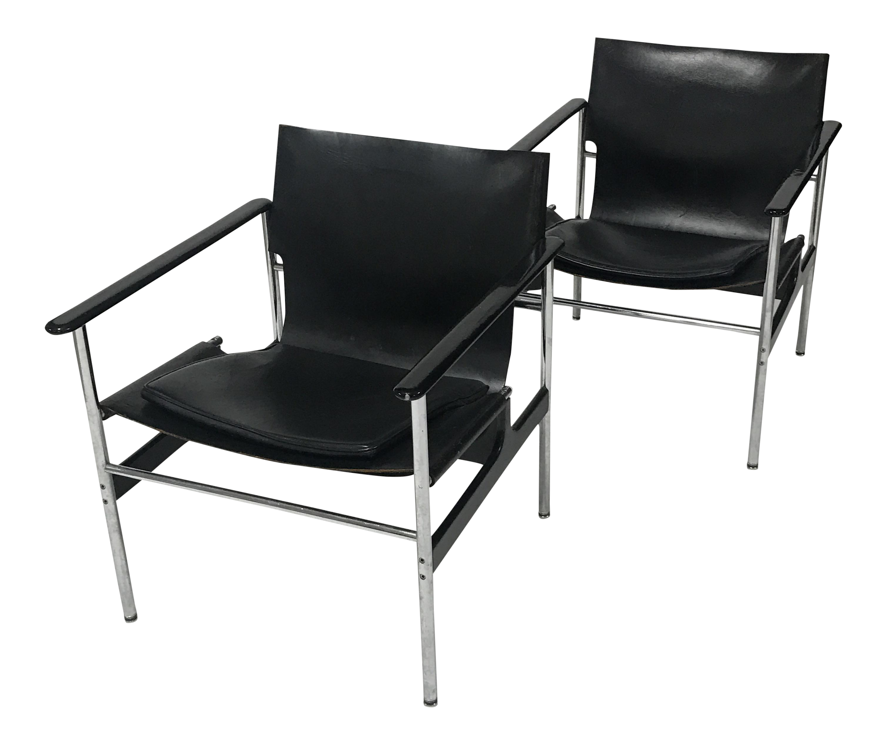 Charles Pollock For Knoll Black Leather Sling Chairs   A Pair