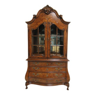 1980s Vintage Custom French Bombay Burl Wood China Cabinet Breakfront Hutch