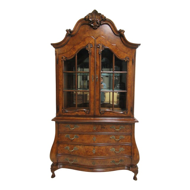 1980s Vintage Custom French Bombay Burl Wood China Cabinet Breakfront Hutch For Sale