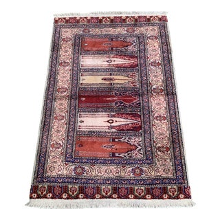 Silk on Cotton Rug - 3′ × 4′7″ For Sale