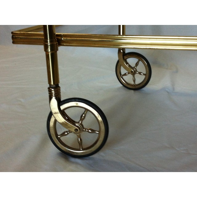 Maison Jansen Italian Brass Bar Cart - Image 4 of 6