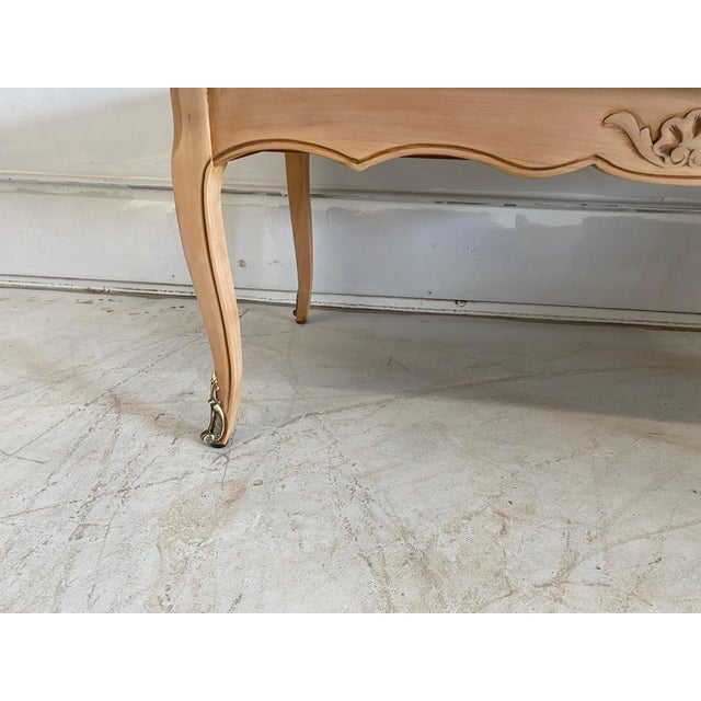 French French Antique Coffee Table Louis XV Style With 2 Drawers Bleached For Sale - Image 3 of 11