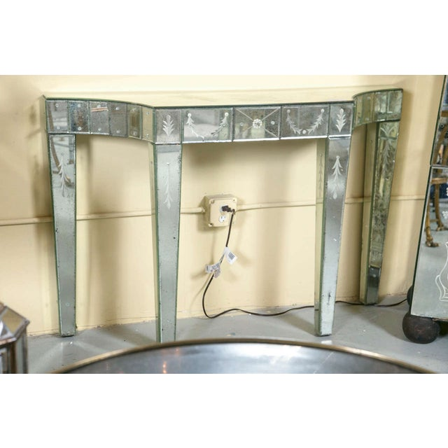 Etched Glass Mirrored Consoles - A Pair - Image 4 of 9