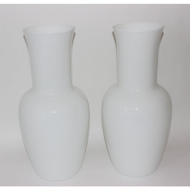 Modern Vintage Venini Murano White Glass Vases - a Pair - Part of a Collection For Sale - Image 3 of 10