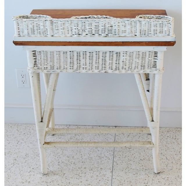 White Antique Painted Wicker & Oak Writing Desk Table For Sale - Image 8 of 13