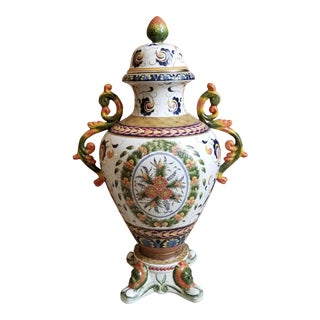 Large Italian Style Decorative Lidded Urn For Sale