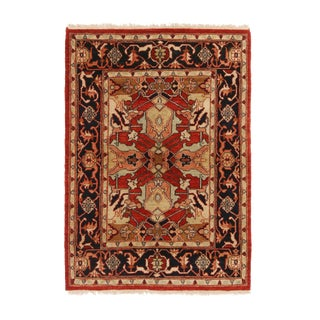 1990s Traditional Bidjar Red and Beige Wool Rug With Floral Patterns For Sale