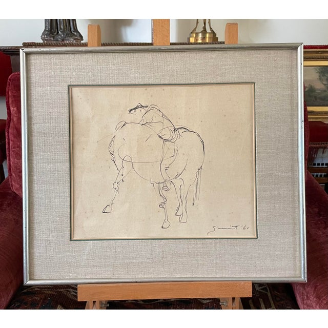 1961 Surrealist Style Abstract Graphite Drawing of a Horse by Walter Quirt, Framed For Sale - Image 9 of 9