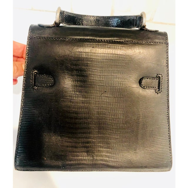 1980s Petite Lizard Skin Kelly Style Purse For Sale - Image 10 of 12