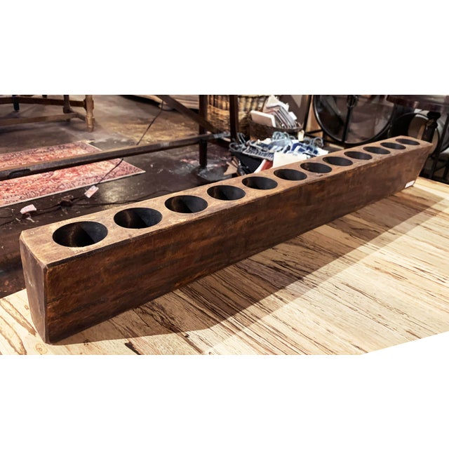 Rustic Wooden Sugar Mold Wood Candle Holder With 12 Holes For Sale - Image 3 of 12