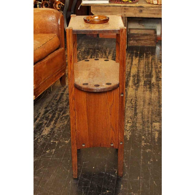 20th Century Arts and Crafts Humidor Oak Pipe & Ashtray Stand For Sale - Image 4 of 8