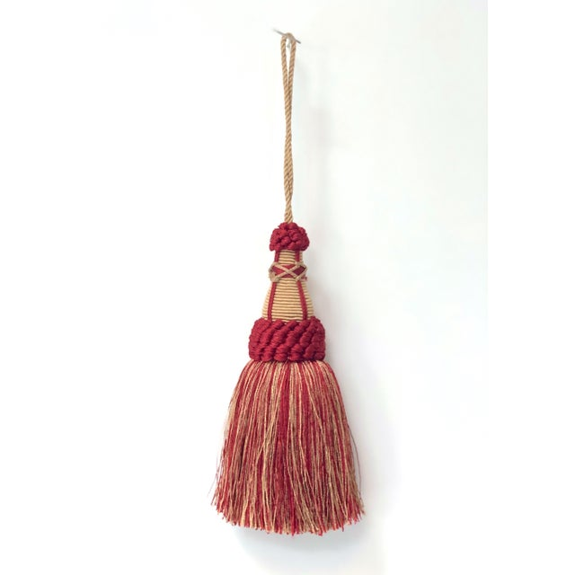 Key Tassel in Red and Gold With Looped Ruche Trim For Sale - Image 9 of 9