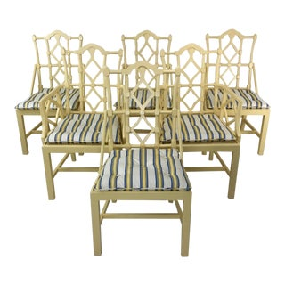 Vintage Mid Century Fretwork Dining Chairs- Set of 6 For Sale