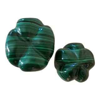 Carved Malachite Bulbous Shaped Stones - a Pair For Sale