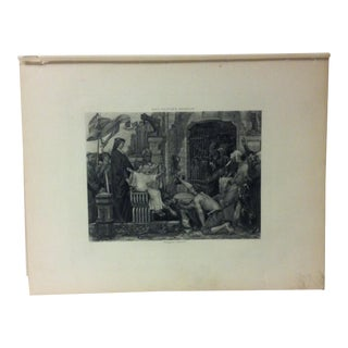 """Antique Photogravure on Paper, """"Louis IX Opens the Jails of France"""" by Luc Oliver Merson - Circa 1860 For Sale"""