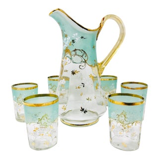 French 19th C. Hand-Painted Glass Pitcher & Glasses Serving Set - Set of 7 For Sale