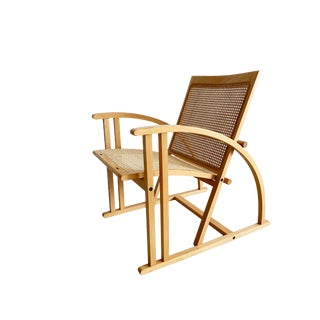 1980s Vintage Pascal Mourgue French Beech Wood and Cane Lounge Chair For Sale