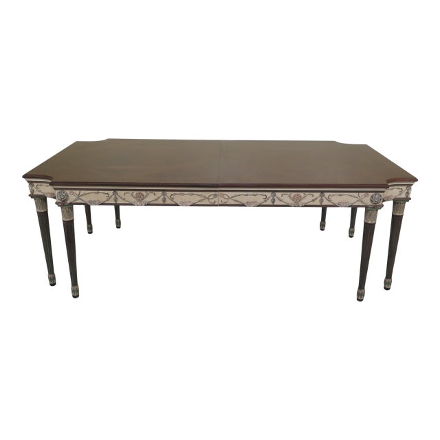 1990s Regency Ej Victor Paint Decorated Dining Room Table For Sale