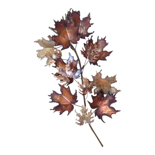 C Jere Brass Autumn Leaves Wall Sculpture, 1971 - Image 1 of 6