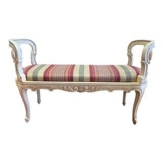 French Provincial Wood + Stripe Upholstery Bench For Sale