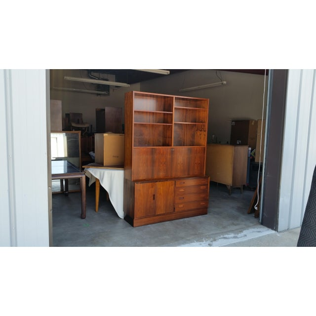 Gorgeous 1960's Brazilian Rosewood two-piece wall unit with drop down secretary designed by Carlo Jensen for Hundevad &...