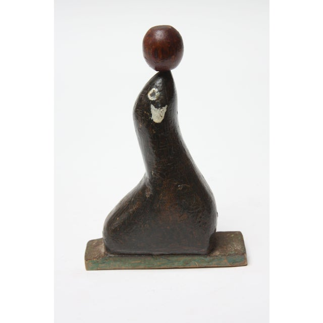 Traditional 1930s Folk Art Carved and Hand-Painted Seal Sculpture For Sale - Image 3 of 13