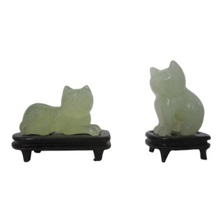 20th Century Chinese Jadeite Carving of Cats - a Pair For Sale