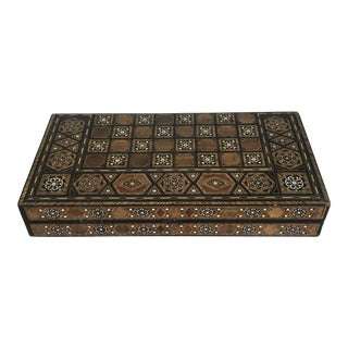 Vintage Inlaid Marquetry Backgammon Checkers Game Box For Sale