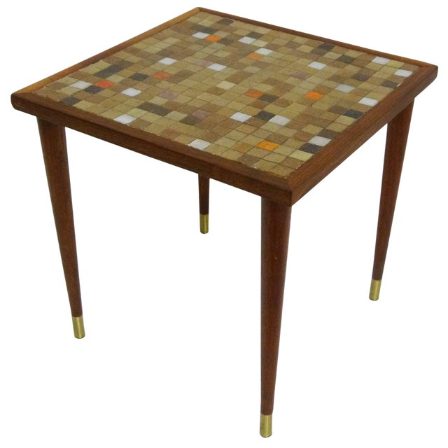 Mid Century Mosaic Tile Side Table - Image 1 of 7