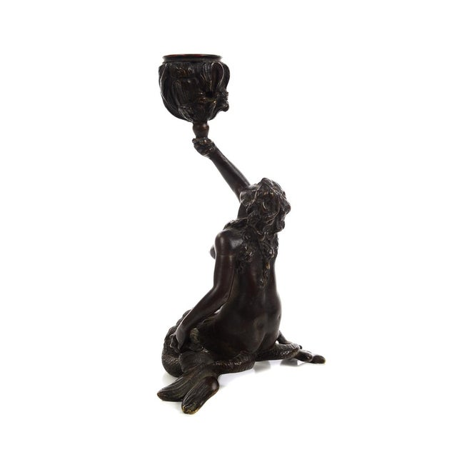 Metal 19th Century Bronze Figural Mermaid Candlesticks -A Pair For Sale - Image 7 of 9