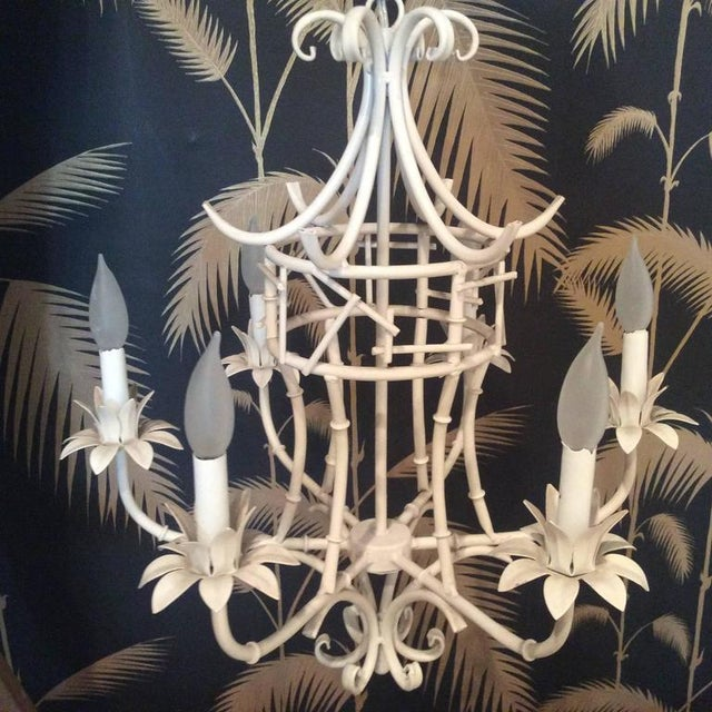 Metal Vintage Faux Bamboo Metal Pagoda Chandelier For Sale - Image 7 of 9
