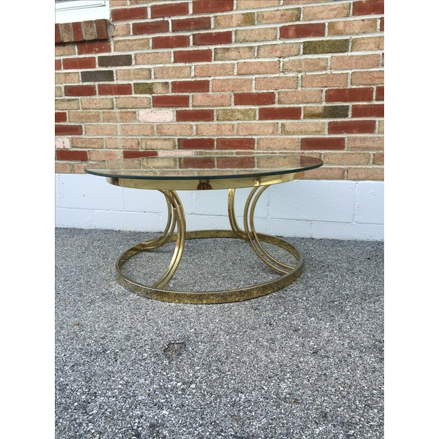 Crescent Base Brass Cocktail Table - Image 5 of 6