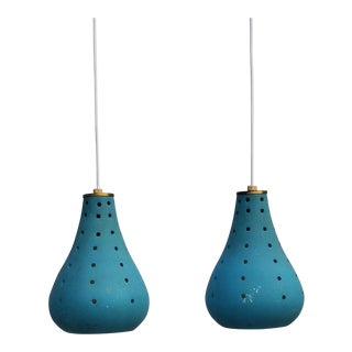 Mid-Century Perforated Pottery Pendant Lamps- a Pair For Sale