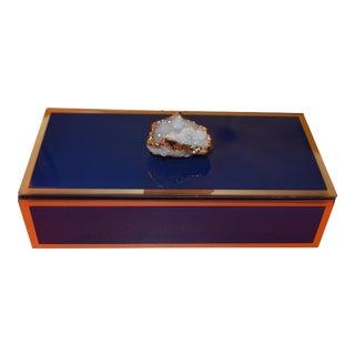 Sapphire Geode and Glass Trinket Box