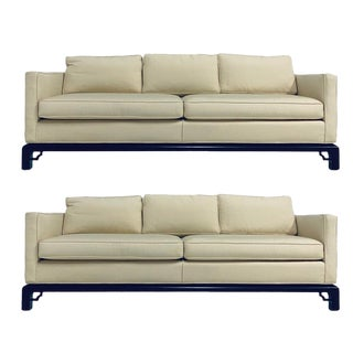 Pair of Mario Buatta for Widdicomb Chinoiserie Silk 3 Cushion Sofas For Sale