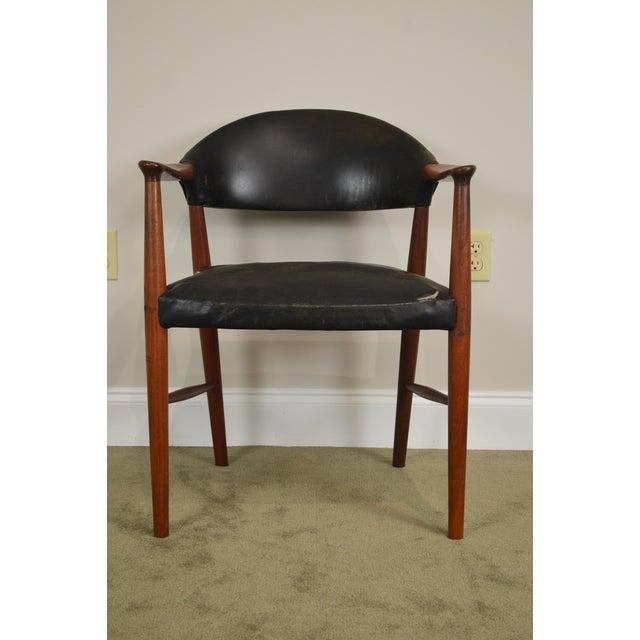 Danish Modern Teak & Black Leather Vintage Arm Chair For Sale - Image 12 of 13