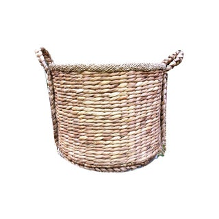 1970s Vintage Rattan Handwoven Basket Preview