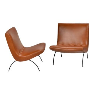 1950s Early Milo Baughman Scoop Chairs in Leather - a Pair For Sale