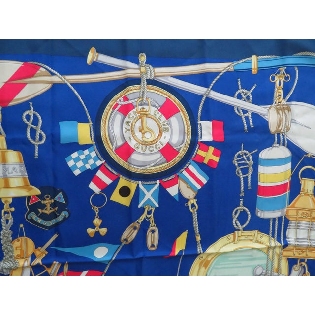 Nautical Vintage Gucci Nautical Silk Scarf For Sale - Image 3 of 13