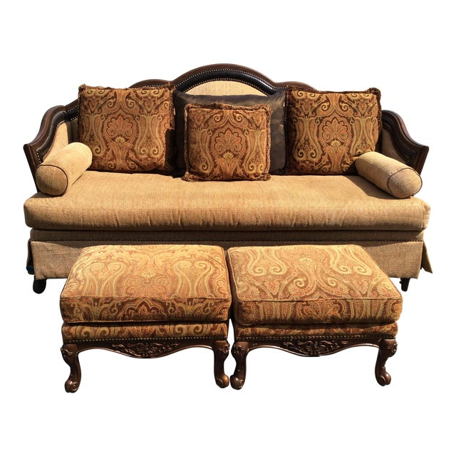 Chenille Sofa & 2 Ottomans - Image 1 of 11