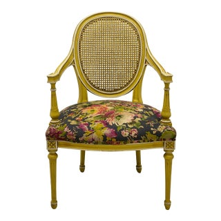 1970s Baker Furniture Co. French Style Caned Bergere Chair For Sale