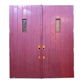 Antique Red Oak Double Doors With Leaded Glass - a Pair