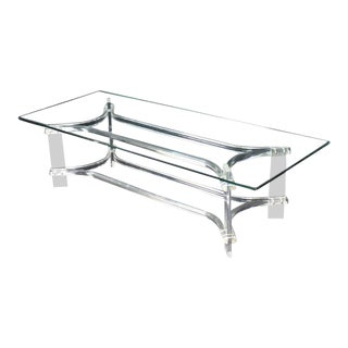Mid-Century Modern Rectangle Glass Top Bent Lucite Coffee Table For Sale
