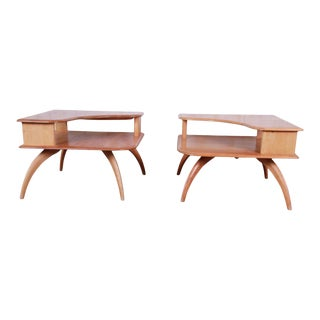 Heywood Wakefield Mid-Century Modern Solid Maple Corner End Tables - a Pair For Sale