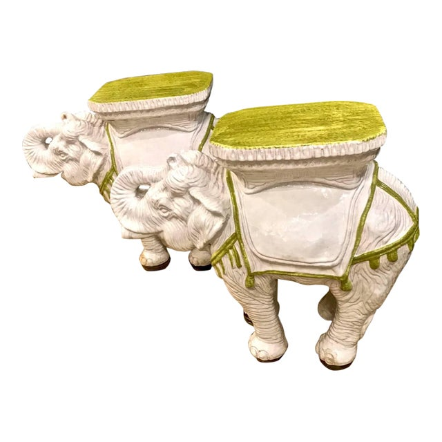 Pair Italian Ceramic Chinoiserie Elephant Garden Stools or Tables For Sale