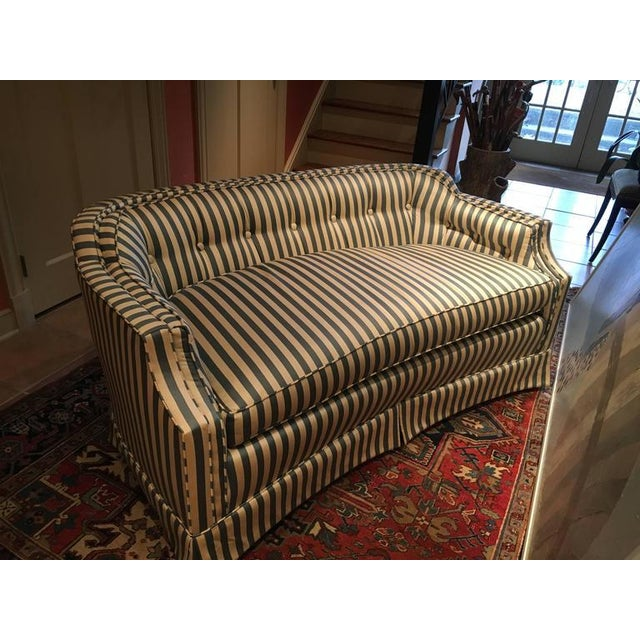 Curved Tufted Back Loveseats - A Pair - Image 4 of 4